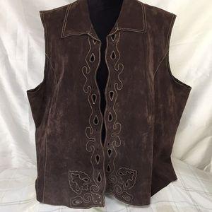 Coldwater Creek Brn leather laser cut design vest